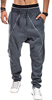 Fensajomon Men Fashion Elastic Waist Drawstring Zipper Sweatpants Jogger Long Pants