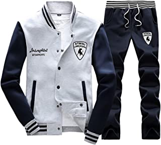 Luckyoung Men's Athletic Jogging Sweat Suit Casual Baseball Jacket & Pants Tracksuit