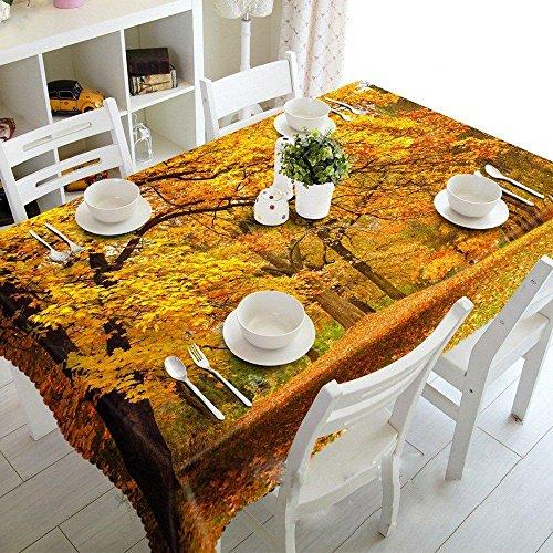 Tischdecke 3D Herbst Ahorn Wald Staub und Umweltschutz, Rectangular Width 134cmx Long 183cm
