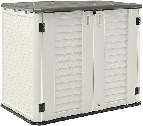 HOMSPARK Horizontal Storage Shed Weather Resistance, Multi-Purpose Outdoor Storage Box for Backyards and Patios, 26 C...