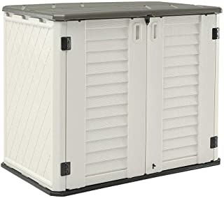 HOMSPARK Horizontal Storage Shed Weather Resistance, Multi-Purpose Outdoor Storage Box for Backyards and Patios, 26 Cubic ...