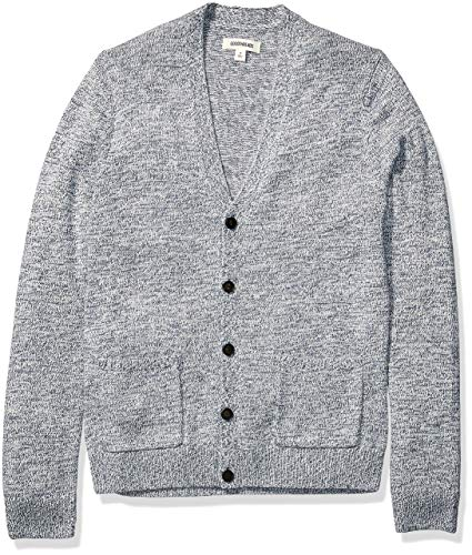 Amazon Brand - Goodthreads Men's Supersoft Marled Cardigan Sweater, Denim Large
