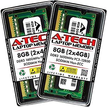 A-Tech 8GB  2x4GB  DDR3 1600MHz SODIMM PC3-12800  PC3-12800S  CL11 Non-ECC SO-DIMM 204 Pin - Laptop Notebook & AIO Computer RAM Memory Upgrade Kit