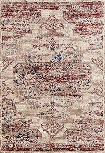 8132 Distressed Cream Burgundy 5x7 Area Rug Carpet Large New