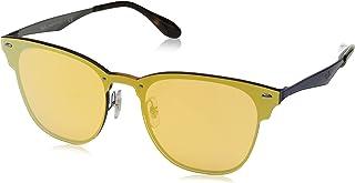 Óculos De Sol Ray Ban Clubmaster Blaze RB3576 Azul Escovado Lentes Laranja Ouro Espelhado