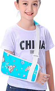 Kids Arm Sling for Boys Girls Blue Little Pleasant Goat Shoulder Sling Pretty Fashion Cute Colorful Pattern Children Child Padiatric Toddler Arm Sling Left Right Arm Support Rotator Cuff Brace (L)