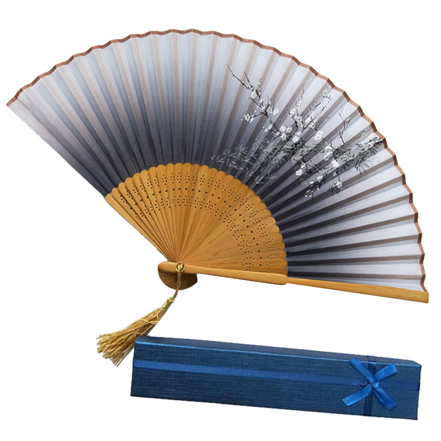 発症週間広がりユニセックス扇子 、高級 折りたたみ式 竹製工芸品扇おしゃれ 和装小物浴衣上品 花火大会 着物 装飾 華やか 歌舞伎小物道具扇子 (K)