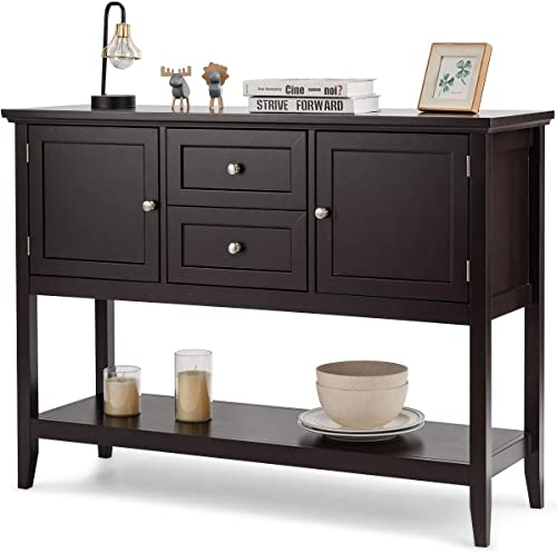 wholesale Giantex Buffet Sideboard, Wood Storage Cabinet, Console Table with Storage Shelf, 2 Drawers and Cabinets, Living Room Kitchen Dining wholesale Room discount Furniture, Wood Buffet Server (Coffee Brown) sale