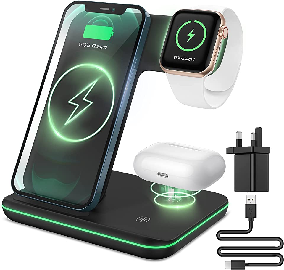 XIMU Wireless Charger,Charging Dock Station Compatible with Apple Watch and iWatch Series SE/6/5/4/3/2/1, Fast Charging Stand Compatible with iPhone 12/11/Pro Max/XR/XS Max/X/8/AirPods 2