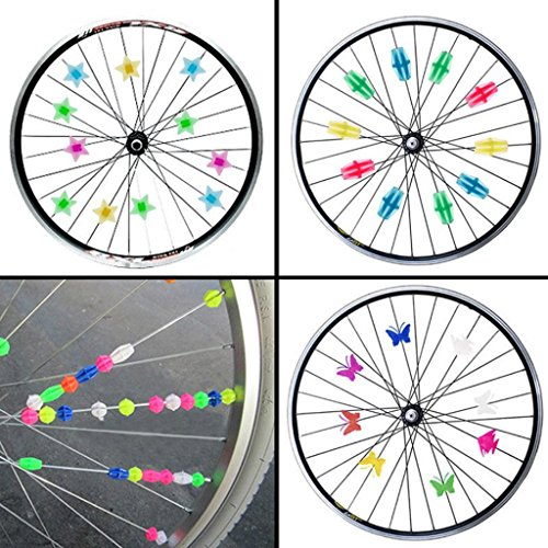MOMOONNON 170 Counts Colorful Bike Wheel Beads Bicycle Decoration Spoke Beads Biking Accessories for Kids, Various Colors and Patterns