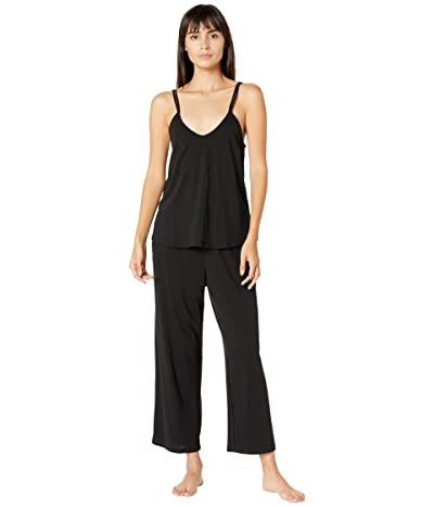 Skin Organic Cotton Calista Double Strap Cami with Shelf Bra Crop Pants Set (Black) Women