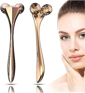 PRITECH 3D Roller Face Massager,Lightton Facial Care Massager Roller Firming Beauty Massage Body Face Tool Gold
