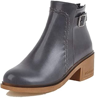 WeenFashion Women's Closed-Toe Kitten-Heels Pu Low-Top Solid Boots, AMGXX115190