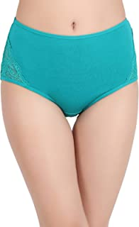 Clovia Women's Cotton High Waist Hipster Panty with Lace Panels at Sides