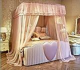 YROYR Mosquitera en forma de U mosquitera engrosamiento en el techo Fachada estilo princesa viento en casa tres puertas, 180x200x210cm, color crema