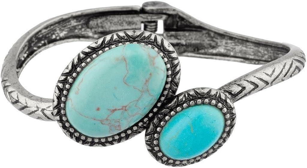 LUX ACCESSORIES Turquoise Textured Boho Tribal Hinge Bracelet