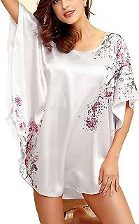 TieNew Women's Sexy Nightwear Silk Satin Flora Short Sleepwear, Batwing Sleeve Kimono Nightgown, Pajamas Nightdress for We...