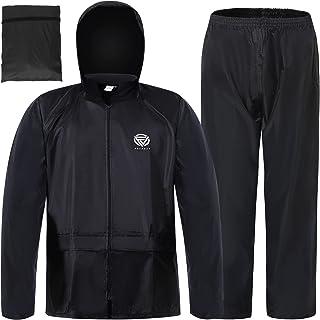 RainRider Rain Suits Safety Rain Jacket with Pants High Visibility Reflective Rain Gear