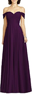 Zhongde Women's Formal Off Shoulder Chiffon Wedding Party Bridesmaid Dress Evening Maxi