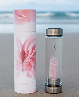 Rose Quartz Crystal Water Bottle for Healing and Wellness - Glass Bottles with Engraving, Neoprene Carrying Sleeve with Handle for Portable Use, Large Crystals, Leakproof