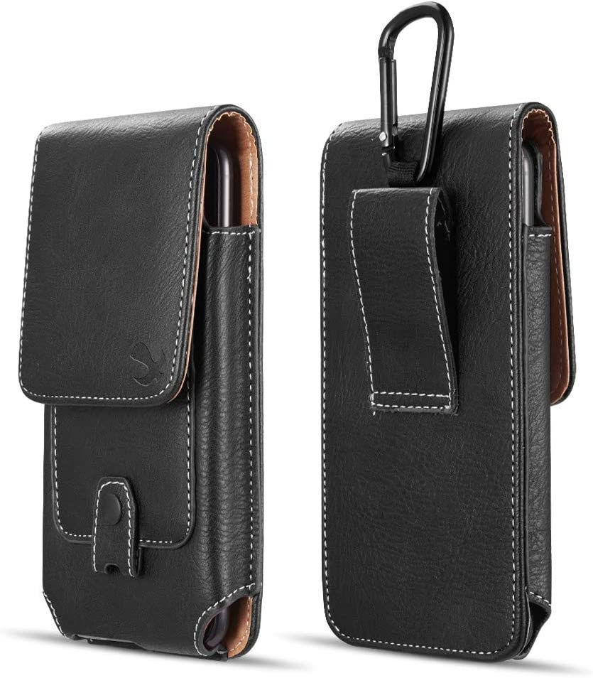 Luxmo Vertical Series Phone Holder Compatible with Jitterbug Smart2 (Greatcall) - PU Leather Belt Holster Pouch Case with Inner Card Slots and Atom Cloth - Black