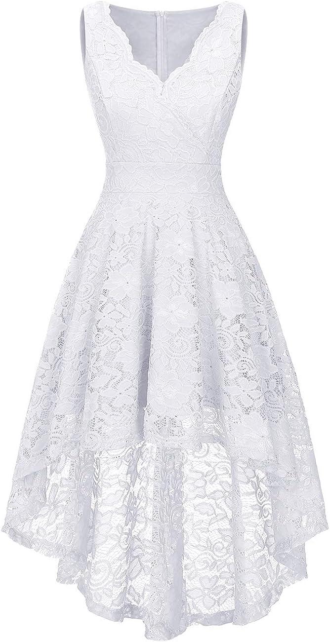 Vinvv Women Floral Lace Dress Asymmetrical Hi-lo Cocktail Party Dresses Vintage Bridesmaid Dress