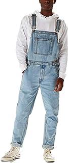 Mono de Mezclilla de Corte Recto para Hombre Confort Piernas Anchas Sueltas Ajuste Relajado Jeans de Estilo Retro Azul Cla...