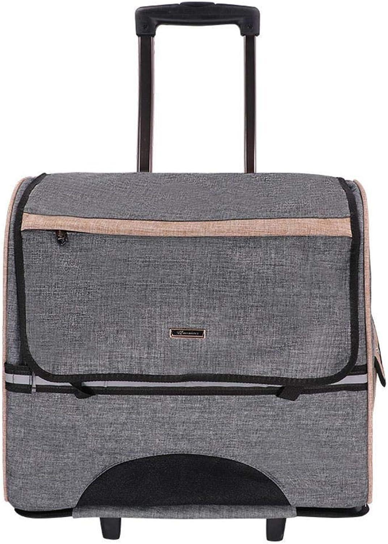 Aoligei Trolley case Out Portable Double Shoulder Bag Portable cage Suitcase 44x23x39cm