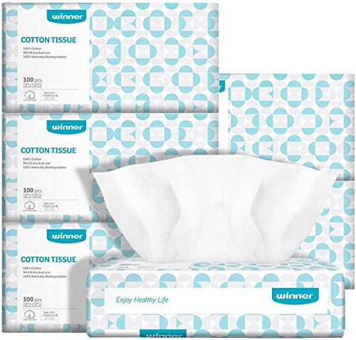 Ultra-Soft Baby Dry Wipes 100% Pure Cotton 600 Counts Super Strong & Resuable Face Towel & Makeup Removal DIY Cotton ...