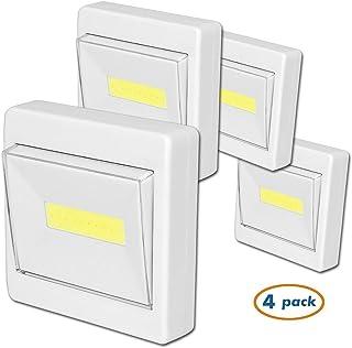 LEDスイッチライト 高輝度 室内照明 壁掛け照明 ブラケットライト フットライト ベッドサイドランプ 壁取り付け用ライト 非常燈 玄関・廊下・寝室・トイレ・階段などの照明 マグネット付け 電池式 ON/OFF型 4個セット