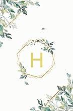 """Η: η Eta, Initial Monogram Greek Alphabet Letter Η Eta, Cute Interior Leaves Decoration, Lined Notebook/Journal, 100 Pages, 6""""x9"""", Soft Cover, Matte Finish"""