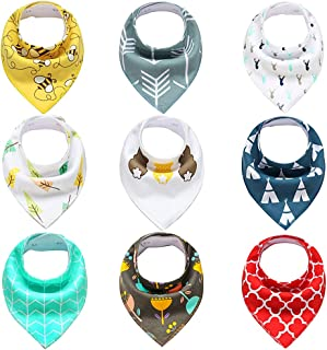 9- Pack Baby Bandana Drool Bibs for Drooling and Teething, 100% Organic Cotton and Fleece Unisex super absorbent Organic Cotton, Cute Baby Gift for Boys & Girls, Toddler Baby Shower gift