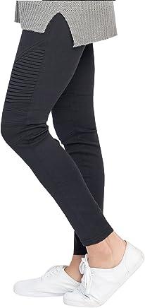 0db3449f0be Hestenve Womens High Waist Moto Legging Pintuck Mesh Panels Skinny Pants