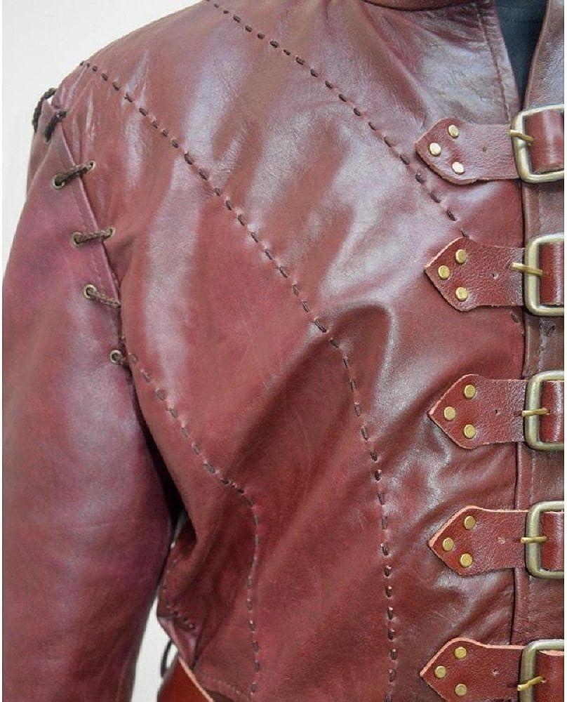 Gemini seller Game of Thrones Jaime Lannister Season 5 Jacket/Coat/Vest Real Leather Removable Sleeve Design (Medium) Maroon