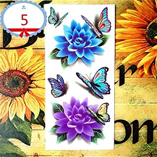 Amazing Butterfly 3D Temporary Tattoo Body Art Flash Tattoo Stickers 19 * 9cm Waterproof Tatoo Home Decor Wall Sticker (Color : 5)