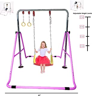 KidsJungle Kids Jungle Gym 3 in 1 Gymnastics Monkey Bar Kip Bar Deluxe Swing Set, Trapeze Rings, Adjustable Horizontal Climb Tower Junior Training Pink