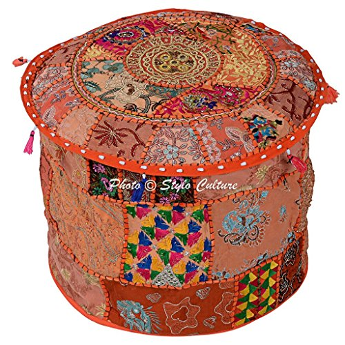 Stylo Culture Living Room Decor Cotton Patchwork Embroidered Ottoman Stool Pouf Cover Orange Floral 40 cm Footstool Floor Cushion Ethnic Bean Bag
