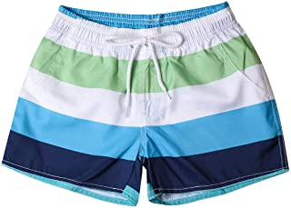 Qootent Summer Women Stripe Swim Shorts Casual Quick Dry Surf Beach Short Pants
