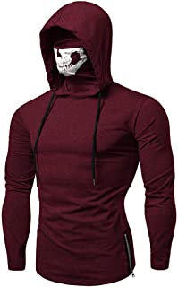 New WUAI Mens Hooded Sweatshirt with Mask Skull Casual Tops Muscle Slim Splicing Novelty Warm-up Jackets Overcoat
