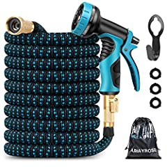LIGHTWEIGHT AND FLEXIBILITY. The expandable garden hose is lightweight. The original length is 9 feet(extending from 9 ft to 25 ft). It can be expanded up to 3 times of its original length with water pressure, then retracts when the water is turned o...