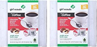 Girl Scouts Cookie Flavored Coffee | Single Serve Brew Cups | Chocolate Peanut Butter | Two Boxes