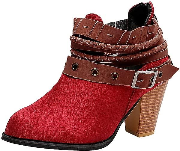 RINKOUa Fashion Women Boots High Heels Ankle Booties Women Party Wedding Sexy Rivet Buckle Martin Boots Women S Boots Appropriate Season Autumn Red 40