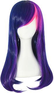 MapofBeauty 24 Pulgada/60cm mezcla de colores Side flequillo Micro rizo Waves largo rizo de cosplay Pelucas (Oscuro Azul/Púrpura+polvo)