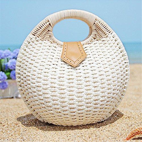OneMoreT Retro-Tasche aus Stroh, Rattan, gewebte Muschel, Handtasche, Vintage, Messenger-Geldbörse, Strandtasche