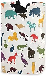 ZOMOY Grand Organiser Paniers pour Vêtements Stockage,Silhouettes d'animaux africains et européens dans Le Style de Dessin...