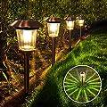 Otdair Solar Path Lights Outdoor, 4 pcs Stainless Steel Outdoor Solar Powered Landscape Lights, Waterproof Solar Yard Lights 2 Brightness for Garden Lawn Patio Walkway Path Warm White