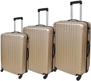 نيو ترافل حقيبة سفر صلبة بعجلات، 4 عجلات ، 3 قطع - لون ذهبي