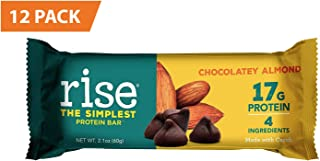 Rise Bar Non-GMO, Gluten Free, Soy Free, Real Whole Food, Whey Protein Bar (17g), No Added Sugar, Chocolatey Almond High Protein Bar with Fiber, Potassium, Vitamins & Nutrients 2.1oz, (12 Count)