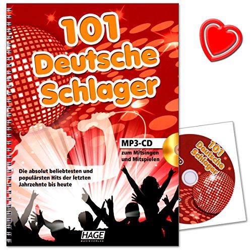101 deutsche Schlager mit MP3-CD - für Keyboard, Gitarre oder Gesang - in gut spielbaren, leichten Arrangements - Hits der letzten Jahrzehnte bis heute - HAGE EH4645 - Buch mit Notenklammer