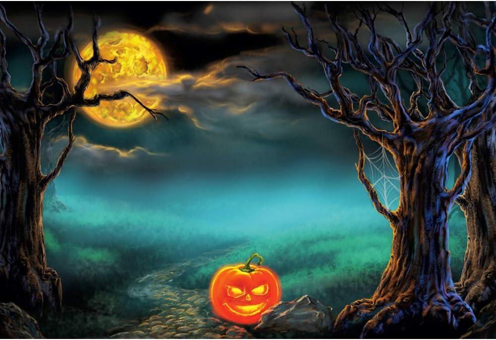 OERJU 12x10ft Happy Halloween Backdrop Jack Pumpkin Lanterns Scary Trees Photography Background Trick or Treat Theme Halloween Party Decorat Newborn Baby Shower Wallpaper Kids Portrait Photo Prop